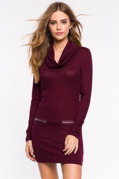 Women's Day Dresses | Zip Knit Cowlneck Shift Dress | A'GACI