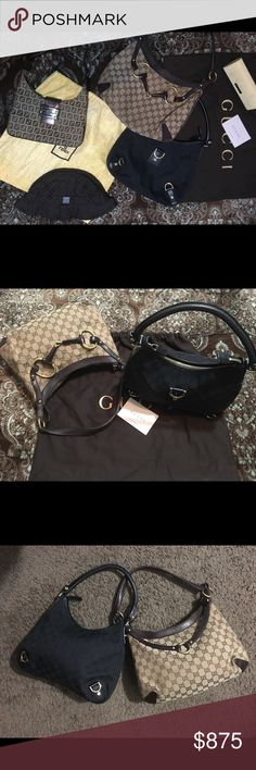 🤩😍FENDI AND! GUCCI?!! 4 authentic items 😲🤗💯😉 What a cute and amazing 4 pc bundle!! Very upscale and iconically fashionable pieces that'll never go out of style! Infamous Fendi zucca Baguette/Hobo has 3 compartments slightly larger than the average regular Fendi baguette! Also included is a very rare hard to find Fendi piece which would be the unisex Fendi hat (dopest) said medium but I have a big bed lol still fits tho but well u kno then As you can see there's also two separate Gucci…