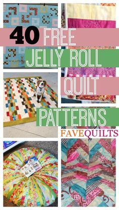 45 Free Jelly Roll Quilt Patterns 40 Free Jelly Roll Quilt Patterns 5 New Jelly Roll Quilts. Sew beautiful quilts with these free quilt patterns for jelly rolls. The post 45 Free Jelly Roll Quilt Patterns appeared first on Quilt Decor. Quilting For Beginners, Quilting Tutorials, Quilting Projects, Quilting Designs, Sewing Projects, Quilting Ideas, Beginner Quilt Patterns Free, Sewing Tutorials, Sewing Ideas