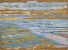 View from the Dunes with Beach and Piers, Domburg / Piet Mondrian / 1909 / Oil and pencil on cardboard