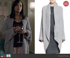 Olivia's grey ribbed oversized cardigan on Scandal. Outfit Details: http://wornontv.net/39547/ #Scandal