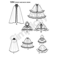 misses' capes can be made long with a stand collar, medium length with ruffles, and short with or without a hood. have fun adding trim, feathers, lace and tassels. one size fits most. shirley botsford for simplicity.