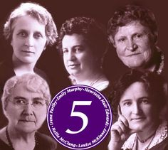 """In 1929 Women were declared """"persons"""" under Canadian law. The """"Famous Five"""": Henrietta Muir Edwards, Nellie McClung, Louise McKinney, Emily Murphy and Irene Parlby appealed the Supreme Court decision to turn them down and won. Canadian Law, Canadian History, Canadian Things, Great Women, Amazing Women, Amazing People, The Famous Five, Mighty Girl, One Wave"""