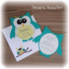 10 Invitation – faire-part naissance forme hibou menthol et vert Birth Announcement Girl, Baby Birth, Teacher Appreciation Gifts, Newborn Photography, 3d Printing, Christmas Gifts, Baby Shower, Children, Frame
