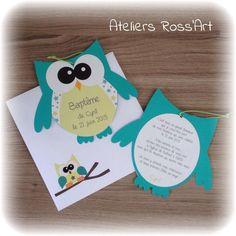 Invitation - faire-part naissance forme hibou turquoise et vert : Faire-part par ateliers-ross-art