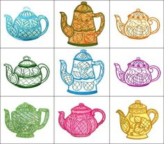 """""""Marys Jacobean Teapots"""" includes applique and non-applique versions of one of a kind teapots, inspired by the teapots Mary remembers in her grandmothers china cabinet while growing up. Truly beautiful!"""