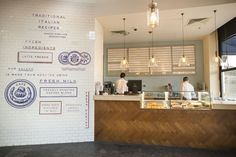 Branding and interior graphics by British studio Here Design for Amman-based restaurant Little Italy