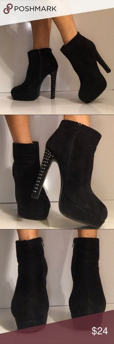 Black and studded heel booties! Adorbs! Size 8 These are unique and fun! Suede with tall studded heels. Very comfortable Considering they are a cheaper brand! diva lounge Shoes Ankle Boots & Booties