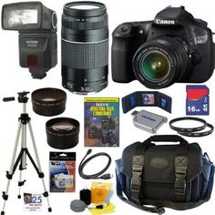 Amazon.com: Canon EOS 60D 18 MP CMOS Digital SLR Camera with EF-S 18-55mm f/3.5-5.6 IS Lens  EF 75-300mm f/4-5.6 III Telephoto Zoom Lens + 16GB Deluxe Accessory Kit: Electronics