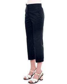 JIL SANDER Slim-Leg Cropped Pants, Navy. #jilsander #cloth #