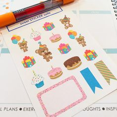 These birthday reminder planner stickers come on a sheet of 16 stickers and are oh-so-cute in your Erin Condren life planner, Plum Paper
