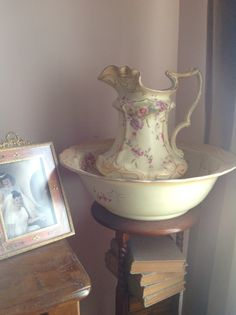 Hand painted Blushware Wash Jug and Bowl set from the states, just gorgeous, a lovely gift from my husband