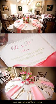 Pink and white wedding reception table details - Palm Valley Gardens, Ponte Verda Beach, Florida www.corinnahoffman.com