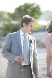 gray suit - stephen, vest - darker tie corresponding with bridesmaid dresses