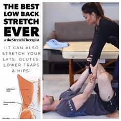 Good Back Stretches, Lower Back Pain Exercises, Hip Strengthening Exercises, Yoga Poses For Back, Hip Stretching Exercises, Back Stretching, Hip Flexor Exercises, Floor Exercises, Lower Traps