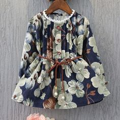 Pretty Autumn Style Girls Long-Sleeved Floral Print Dress