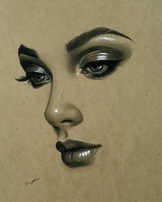 Uplifting Learn To Draw Faces Ideas. Incredible Learn To Draw Faces Ideas. Unique Drawings, Art Drawings Sketches, Pencil Drawings, Pencil Art, Pencil Portrait, Portrait Art, Art Visage, Toned Paper, Drawing Techniques