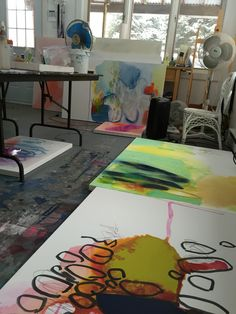 First day back in my #studio up north: I had forgotten how many #paintings I…
