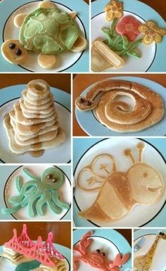 Cute pancakes,  I know people and me eat pancakes for Breakfast, but they are sweet and buttery and delicious. just like Cinnamin Buns.....They are dessert for us....I eat at a place whose pancakes have vanilla pudding in the middle, and I order Strawberries and Strawberry syrup on them....Can you believe how energetic I get????