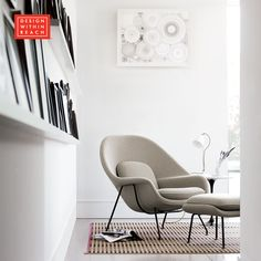 Womb™ Chair and Ottoman | Design Within Reach - Even though The Womb Chair(1946) began as a design challenge to Eero Saarinen, there is no challenge – we must say – about getting comfy in one after a long day.
