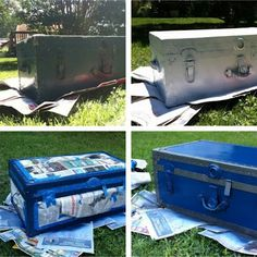 How To repaint an old trunk: spray that sucker.