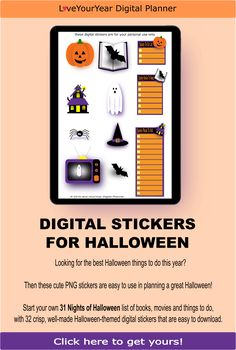 These 32 individual pre-cropped digital planning stickers with cute designs will make decorating your digital planner so much easier. Halloween Things To Do, 31 Nights Of Halloween, Halloween Themes, Halloween Fun, Halloween Countdown, Spooky House, Digital Journal, Planning And Organizing, Bullet Journal Layout
