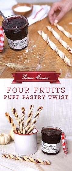 Put a spin on traditional puff pastry with these light and flaky Four Fruit Preserved Puff Pastry Twists. Combine our well-rounded Four Fruit Bonne Maman Preserves with puff pastry and a dusting of powdered sugar for a homemade treat that's just the right amount of sweet. Perfect for breakfast, dessert, or a snack.