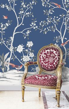 Metallic Chinoiserie wall murals available from Tempaper. Garden has hand-painted landscapes, birds, flowers and is printed on a self-adhesive removable fabric. Chinoiserie Wallpaper, Fabric Wallpaper, Removable Wall Murals, Temporary Wallpaper, Striped Walls, Room Paint Colors, Designer Wallpaper, Wallpaper Designs