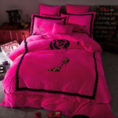 230g Thick Flannel MaterialColors Are Guaranteed Against FadingAnti-Wrinkle, Anti-Bacterial. Long Lasting Durability. Free Shipping Worldwide Luxury Comforter Sets, Pink Bedding Set, Queen Bedding Sets, Pink Bed Linen, Bed Linen Sets, Bed Sets, Victoria Secret Bedding, Designer Bed Sheets, Queen Bed Sheets