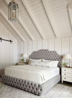 Looking for neutral bedroom design ideas? Check out this photo gallery of fabulous neutral bedroom styles, paint colors and decor. Dream Bedroom, Home Bedroom, Bedroom Decor, Serene Bedroom, Bedroom Ceiling, Bedroom Furniture, Fantasy Bedroom, White Plank Walls, Planked Walls
