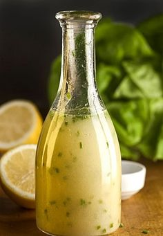Homemade Lemon Vinaigrette Makes: 3/4 cup, enough to dress a salad for 6-8  Ingredients:  3 tablespoons lemon juice  1 teaspoon Dijon mustard  1 teaspoon sugar  1/2 teaspoon coarse salt  6 tablespoons olive oil  2 tablespoons snipped chives  Stir: Lemon juice, mustard, sugar and salt into a small bowl.  Emulsify: Slowly drizzle in oil, whisking constantly.  Chill: Stir in chives. Cover and chill.