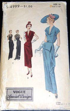 Vogue Special Design S-4999 | 1940s Evening Dress Pattern