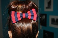 Cute Red/Navy Striped Hair Bow Clip by SheIsSewVegan on Etsy, $13.00