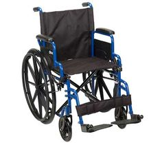 Drive Medical Blue Streak Wheelchair with Flip Back Detachable Desk Arms and Swing-away Foot Rest, Blue, Transport Wheelchair, Transport Chair, Manual Wheelchair, Powered Wheelchair, Ultra Lightweight Wheelchair, Mobility Aids, Mobility Scooters, Blue Streaks, Foot Rest