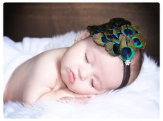 baby headband peacock feather