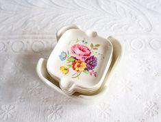 Porcelain Nesting Ashtrays, Hand Painted Flowers, Set of 4, Vintage Ceramic Ashtray
