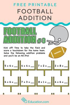 Here is a great FREE worksheet that combines football with simple addition practice. Addition Activities, Addition Worksheets, Math Activities, Preschool Math, Teaching Math, Kindergarten Math, Simple Addition, Early Math, Math Practices