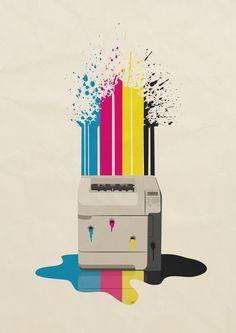 Bleedin' Printer by pencil-addict on DeviantArt Printer Logo, Laser Printer, Printing Websites, Printing Services, Art With Meaning, Unique Poster, Principles Of Design, Logo Design, Graphic Design