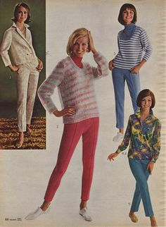 1960s Fashion for Women & Girls | 60s Fashion Trends, Photos and More | Not for school wear - girls started wearing slacks to school in the early 70's and even then, many wore dresses unless it was cold.