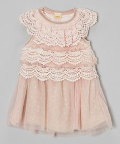 Take a look at this Pink Polka Dot Crocheted Dress - Toddler & Girls by Mia Belle Baby on #zulily today!