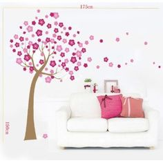 Transparent Cherry Blossom Flowers Wall Stickers Mural Decals Art Decor: Amazon.co.uk: Kitchen & Home
