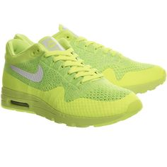 Nike Air Max 1 Ultra Flyknit Volt White ($160) ❤ liked on Polyvore featuring nike