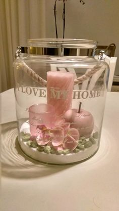Lantern with pink deco and candles # home ideas decoration Lantern with pink deco ., Lantern with pink deco and candles # home ideas decoration Lantern with pink deco and candles. Candle Lanterns, Candles, Christmas Decorations, Table Decorations, Tray Decor, Home And Deco, Shabby Vintage, Shabby Chic Style, Diy Gifts
