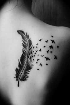 Feather Tattoo - 56 Best Feather Tattoo Designs And Ideas Feather With Birds Tattoo, Feather Tattoo Design, Feather Tattoos, Rose Tattoos, Body Art Tattoos, New Tattoos, Girl Tattoos, Tatoos, Tattoo Bird