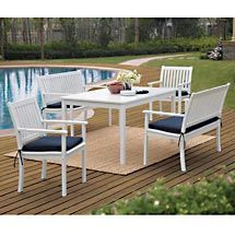 White & blue outdoor dining set