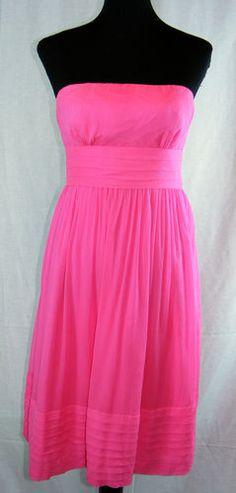 "J Crew ""Juliet"" Bridesmade Dress Sz 6P 6 Petite Silk Pink Chiffon Same Day SHIP | eBay"
