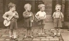 Boys playing vintage photo