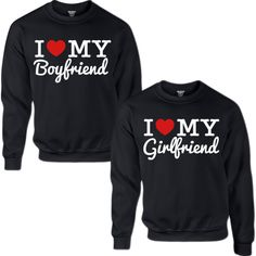 I LOVE MY BOYFRIEND I LOVE MY GIRLFRIEND COUPLE SWEATSHIRT ($70) ❤ liked on Polyvore featuring tops, hoodies, sweatshirts, boyfriend top, low tops, sweat shirts, sweatshirts hoodies and sweat tops