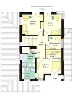 Проект современного двухэтажного коттеджа с гаражом на два автомобиля S8-273 (Кассиопея 7). План 2. Shop-project Two Story Homes, Story House, Townhouse, Floor Plans, How To Plan, Projects, Ideas, House, Log Projects