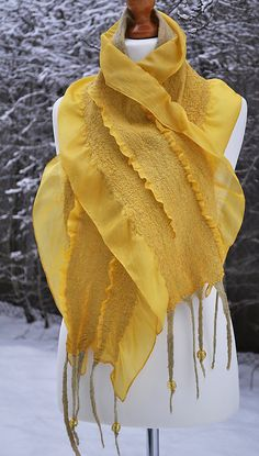 Yellow Sun Handmade Nuno Felted Scarf Shawl Wrap by ShellenD etsy